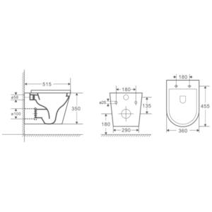 RUBINE ZAWH RIMLESS VORTEX / WALL HUNG PAN (MATT WHITE)