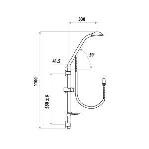 LINKWARE T871DAN DAN ELLE DUAL RAIL SHOWER CHROME
