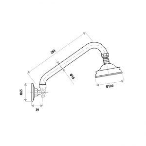 LINKWARE R159F GOOSENECK SHOWER ARM & HEAD CHROME