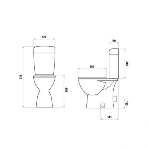 LINKWARE TS555 HELENA CLOSE COUPLED TOILET SUITE WHITE (P & S TRAP)