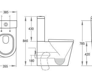 POSEIDON KDK022 Livis Rimless Toilet Suite (LV022) 650*385*865mm (Gloss White)