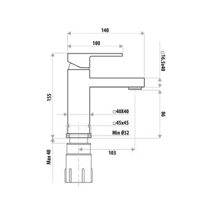 LINKWARE T8605BK LAUREN PROJECT BASIN MIXER MATTE BLACK
