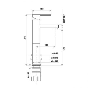LINKWARE T8604BK LAUREN PROJECT HIGH RISE MIXER MATTE BLACK