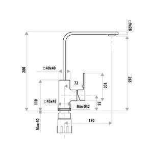 LINKWARE T8602BK LAUREN PROJECT SINK MIXER MATTE BLACK