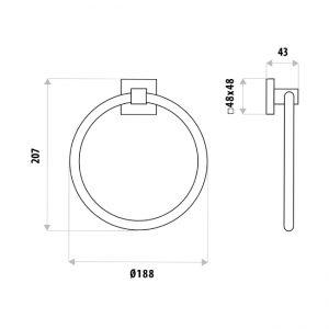 LINKWARE LR6009 LAUREN PROJECT TOWEL RING CHROME / BLACK