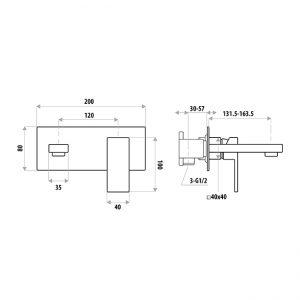 LINKWARE T8606BK LAUREN PROJECT WALL OUTLET MIXER MATTE BLACK