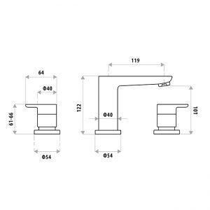 LINKWARE P6650 LIBERTY BASIN SET CHROME / MATTE BLACK
