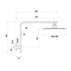 LINKWARE P6653/T9983 LIBERTY GOOSENECK SHOWER SET CHROME / MATTE BLACK