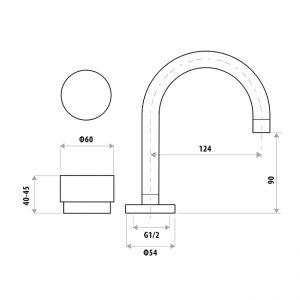 LINKWARE P6150 LOUI BASIN SET CHROME / MATTE BLACK