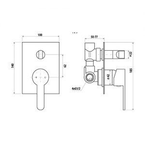 LINKWARE T909 LOUI DIVERTER MIXER CHROME / MATTE BLACK