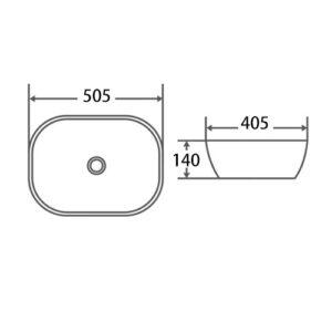 POSEIDON PA4939 Above Counter Basins 505*405*140mm Gloss White