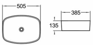 POSEIDON PA50385 Above Counter Basins 505*385*135mm Gloss White