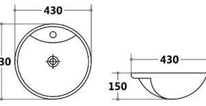 POSEIDON PSR4343 Gloss White Semi Recess Basins 430*430*150mm