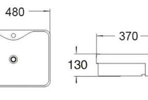 POSEIDON PSR4837NTH Gloss White Semi Recess Basins 480*370*130mm
