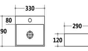 POSEIDON PW3329 Gloss White Wall Hung & Above Counter Basins 330*290*120mm Gloss white