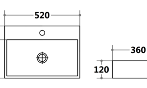 POSEIDON PW5236 Gloss White Wall Hung & Above Basins 520*360*120mm Gloss White