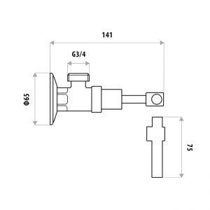 LINKWARE P9954B SABINE LEVER WASHING MACHINE COCK SET CHROME