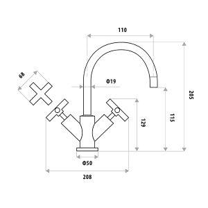 LINKWARE P950TN SABINE BASIN TWINNER SET CHROME