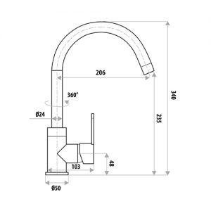 LINKWARE T902 LOUI SINK MIXER CHROME / MATTE BLACK
