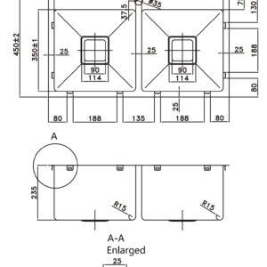 POSEIDON PKS-775TPS Hand Made Stainless Steel Kitchen Sink 775*450*235mm (Stainless Steel)