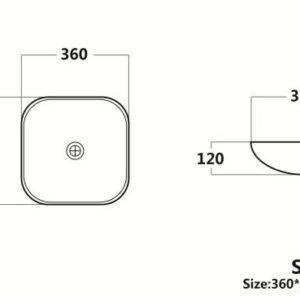 POSEIDON STB3636 Color Basins Solid Surface Basin 360*360*120mm