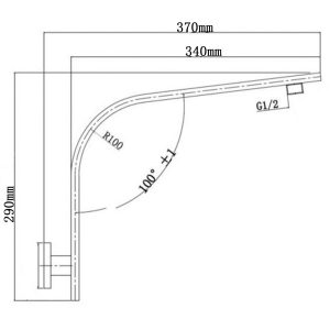 NORICO SE29 CAVALLO GOOSENECK WALL MOUNTED SHOWER ARM CHROME AND COLOURED