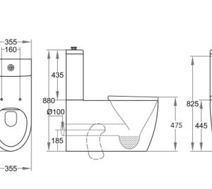 POSEIDON KDK800 Asta disable Rimless Toilet Suite 810*355*880mm (Gloss White)