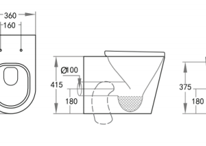 POSEIDON KDK102R Avis Rimless Wall Faced Floor Pan 575*360*415mm (Gloss White)