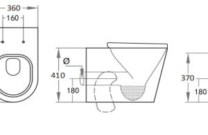 POSEIDON KDK102 Avery Wall Faced Floor Pan 595*360*410mm (Gloss White)