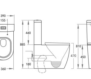 POSEIDON KDK027 Elvera Ambulant Tornado Toilet Suite 660*390*885mm (Gloss White)