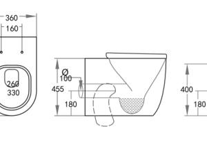 POSEIDON KDK107R Elvera Rimless Extra Height Wall Faced Floor Pan (Gloss White)