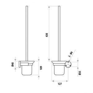 LINKWARE SSB210CP ELLE STAINLESS STEEL TOILET PAN BRUSH & HOLDER CHROME