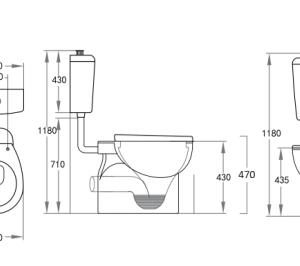 POSEIDON KDK029 Calla Disable P-Trap Toilet Suite 820*350*1180mm (Gloss White)