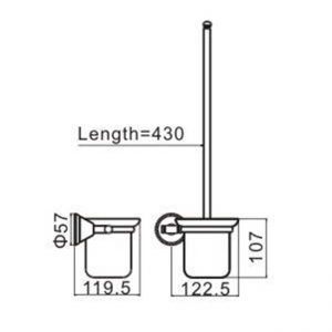 LINKWARE A1310 KIRRA PLUS TOILET PAN BRUSH & HOLDER CHROME