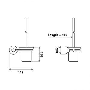 LINKWARE KR7010B KIRRA TOILET PAN BRUSH & HOLDER CHROME