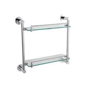 LINKWARE LR4015 LOUI DOUBLE GLASS SHELVES CHROME / BLACK
