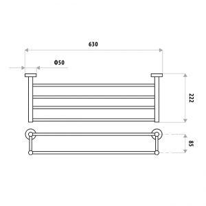 LINKWARE LR4000 LOUI TOWEL RACK 600mm CHROME / BLACK
