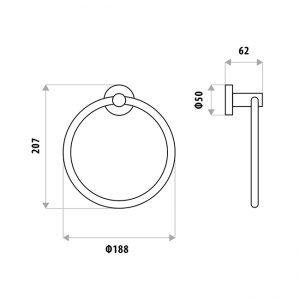 LINKWARE LR4009 LOUI TOWEL RING CHROME / BLACK