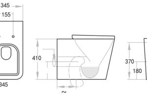 POSEIDON KDK103 Qubist Wall Faced Pan 595*345*410mm (Gloss White)
