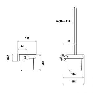 LINKWARE RR3010B RENOVATOR TOILET PAN BRUSH & HOLDER CHROME