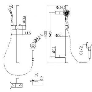 NORICO SR47-1 PENTRO SHOWER RAIL CHROME AND COLOURED