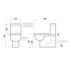LINKWARE TS565B LINKCARE ASSISTED LIVING TOILET SUITE WHITE WITH BLUE LID