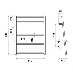 LINKWARE ER6013 7 RUNG TOWEL LADDERS CHROME