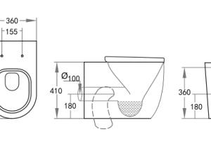 POSEIDON KDK105T Veda Wall Faced Floor Pan 595*360*410mm (Gloss White)
