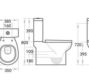 POSEIDON KDK009P Zion Closed Couple Toilet Suite (White)